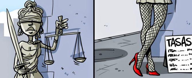 Ilustración Justicia prostituida