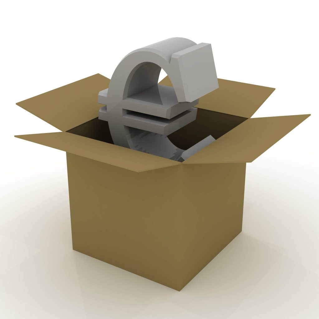 euro en una caja